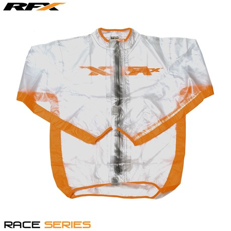 RFX Race Series Wet Jacket (Clear/Orange) Size Adult