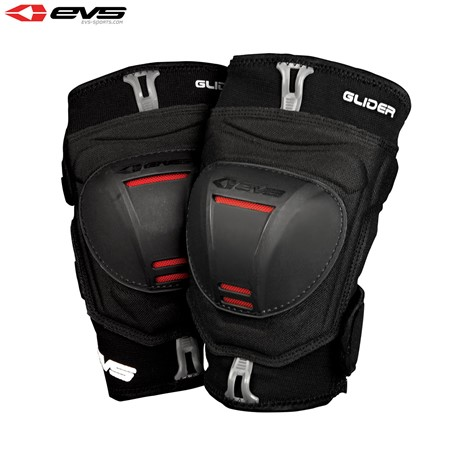 EVS Glider Knee Guards Adult (Black/Red) Pair
